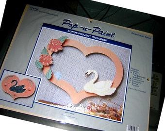 """VALENTINES DAY Vintage 1985 Pop-N-Paint Pre Stamped Wood Craft Kit """" Sweetheart Swan"""" NIP"""