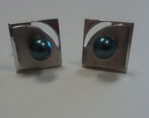 Cuff Links Sterling Silver Black Pearl Handmade Mens Jewelry OOAK