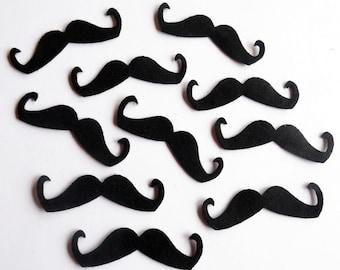 Felt Mustaches BLACK Set of 30 pieces