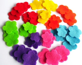 Felt flower Shapes TWO SIZES, set of 56 pieces