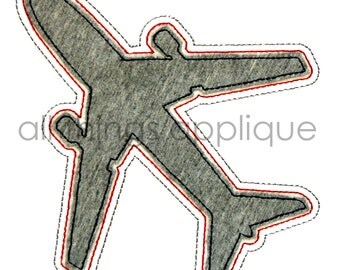 Airplane Silhouette Applique Design - Transportation Applique Design - INSTANT DOWNLOAD