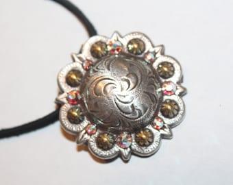 Cowgirl Concho Necklace  Rhinestones Aurora Borealis Swarovski Crystals Cowboy Wedding Rodeo Western Handmade Sparkle Jewelry Gift For Her
