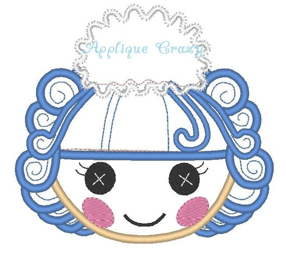 Doll Face Applique design (pink hair with bow)
