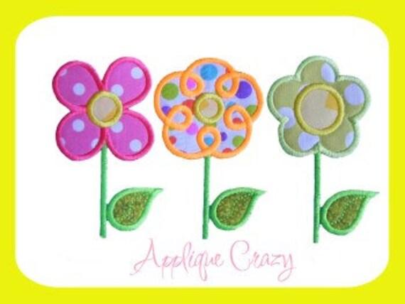 Flower trio Applique design