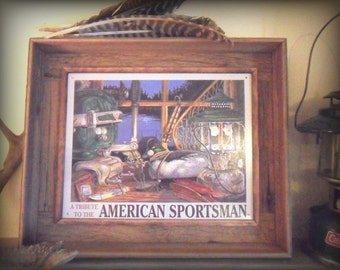 American Sportsman, camping sign, Handmade, barnwood frame, man cave decor, Gift for him, duck hunting picture