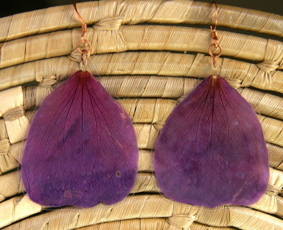 Purple Princess Flower Pressed Flower Petal Earrings