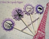 Momma Eva's -- (12)  Chic Paris In Purple OR PINK Collection Layered Cupcake Toppers //  Baby Shower  / Bridal Shower / You CHOOSE The Color