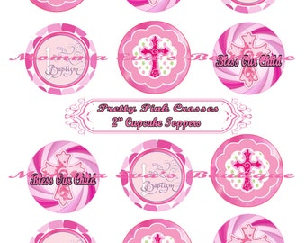 Momma Eva's --  INSTANT DOWNLOAD / NeW Pretty Pink Crosses Cupcake Toppers/8.5in x 11in/ 2in Designs /  Baptism / Gift Tags / Print Yourself