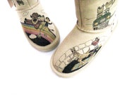 Boots Hand Painted, kids BEARPAW toddler size 13 story book frog - TheWoodsSecretGarden