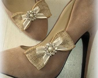 Burlap Shoe Clips pearls rhinestones womens girls shoes clip, wedding bridal shoes clip cute and original