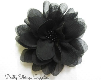 "Black Chiffon Flower. 4"" Black Chiffon Flower. 1 Piece.  ISLA Collection."