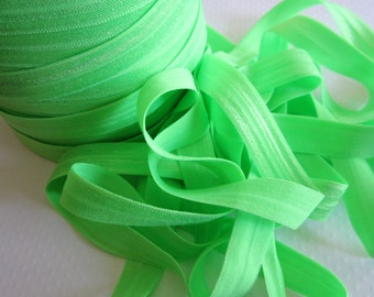 "Neon Green Fold Over Elastic, 5/8"" width. 5 Yards."