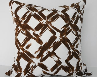 Decorative Trellis, Lattice Throw Pillow Cover, Covington Fabrics, Brown, White, 18 x 18