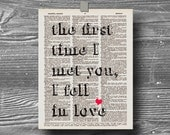 book page dictionary art print poster the day I met you I fell in love quote typography vintage decor inspirational motivational heart