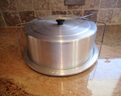 Vintage Aluminum Cake Pan With Carrier Attachment