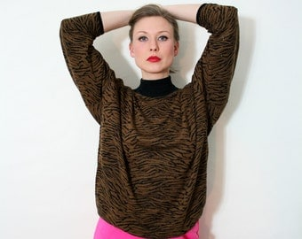 Vintage 80s Animal Print Slouchy Sweater Blouse