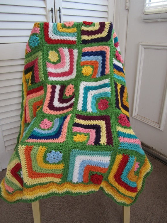 Granny Square Crochet Blanket...Baby Crochet Blanket...Colorful Knitting Patchwork Afghan...Lap blanket