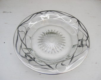 Vintage Glass and Sterling Plate or Coaster, Sterling Overlay