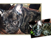 Custom dog portrait original oil pet portrait painting puppy art frenchie great gift 16x20 made to order by Heather Hughes