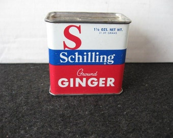 Vintage Schilling Ginger Spice Tin-Red white blue