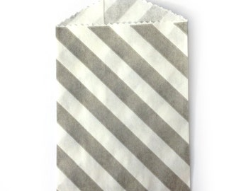 25 Small Grey and White Striped Bags