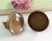 Ring Blanks -5pcs Antique Bronze Brass Adjustable Cabochon Ring Base Setting 25mm with 5pcs Clear Glass Cabs J4003