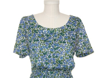 50's 60's Floral Print Dress by L Aignon - Size Medium - Blue White Green Color