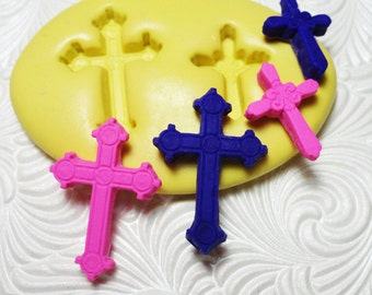 Cross Mold Flexible Silicone Rubber Push Mold for Resin Wax FIMO Fondant Royal Icing Chocolate Polymer Clay Metal Clay