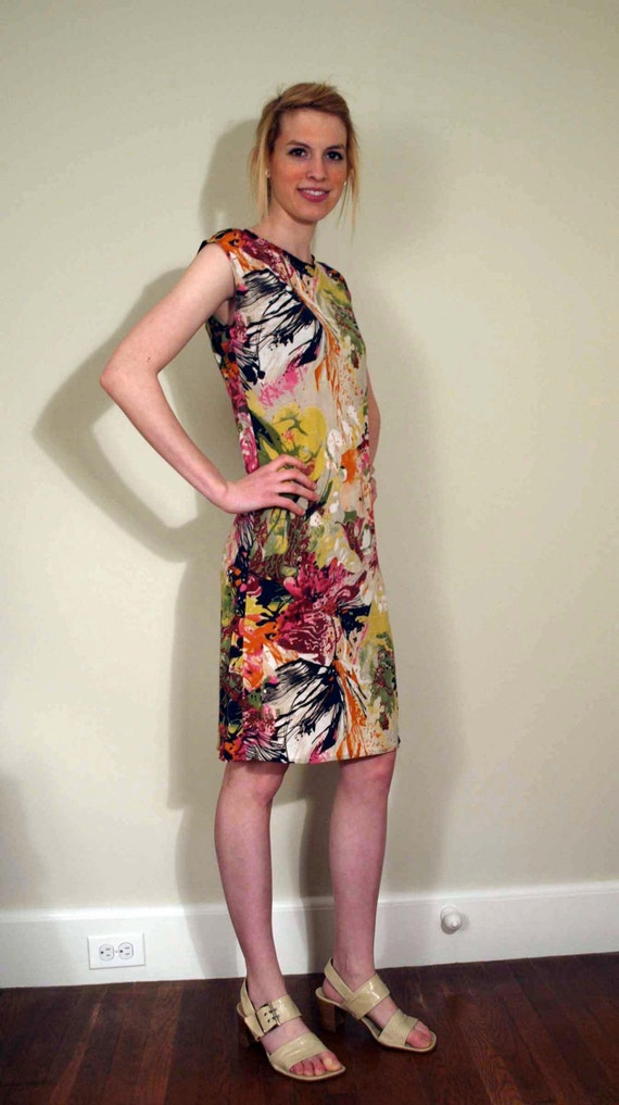 Cap Sleeve Jersey Dress with Abstract Digital Floral Print