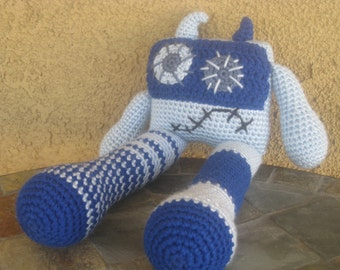Crochet Blue Monster Vegan Robot plush toy doll stuffed animal boys girls children baby babies funky gift MADE TO ORDER in your color choice