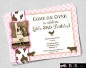 Girl Farm Birthday Party Invitation (pink, orange & brown)- Printable