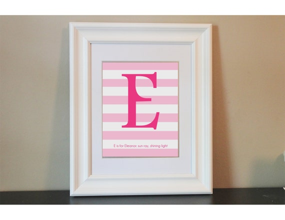 Striped Baby Nursery Name Meaning Art Girl- 8x10 Personalized Print