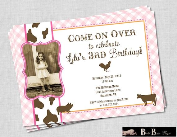 Girl Farm Birthday Party Invitation (pink, orange & brown)