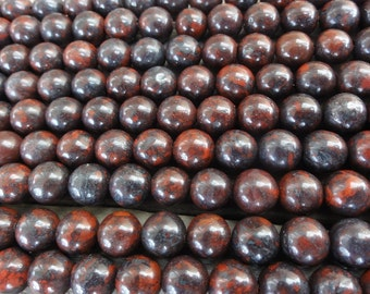 Red Brecciated Jasper Beads -  6mm Round Smooth - 16 inch Full Strand