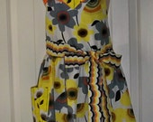 Reduced Womens Yellow Orange Flowered Spring Full  Apron  Ready to Ship