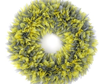 Yellow and Gray Wreath --- Indoor Outdoor Wreath --- Door Wreath --- Outdoor Wreath --- Spring Wreath --- Summer Wreath --- Yellow and Grey