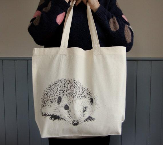 Hedgehog organic cotton tote shopper bag