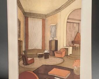 Art Deco Room Interior 1928-29 Pochoir Stencil Colored Lithograph