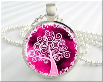 Tree Of Life Necklace, Resin Pendant, Tree Art Jewelry, Pink Accessory Charm, Gift Under 20, Round Silver (443RS)