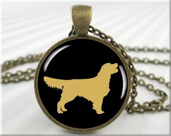 Golden Retriever Necklace, Resin Pendant, Dog Silhouette Jewelry, Gift For Dog Lover, Round Bronze, Gift Under 20, Resin Charm (526RB)