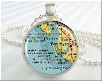 Fort Myers Map Pendant, Resin Pendant, Fort Myers Florida Map Necklace, Picture Jewerly, Round Silver, Gift Under 20  (529RS)
