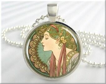 Mucha Art Nouveau Pendant Laurel Fashion Jewelry Charm Resin Neoclassical Necklace (589RS)