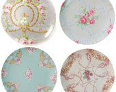 Shabby Chic, Set of 4, Melamine Plate, 10 inch
