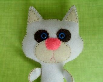 Grumpy Cat Kitty Plush Stuffed Animal Softie Cute White Plush Plushie Gift Ooak Mad Soft Toy Hand-sewn