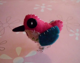 Pink Blue and White Bird Robin Cute Stuffed Animal Small Plush Decor Plushie Spring Summer Ooak Gift
