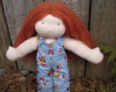 """Waldorf Doll 13"""" Organic Little River Doll- """"Clover""""- All Natural Wool Doll Ready to Ship TWO outifts Red Hair Green Eyes"""