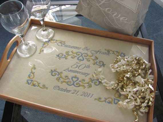 50th Golden Wedding Anniversary Gifts: 50th Anniversary Gift Personalized Serving Tray Golden Wedding