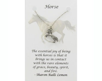 HORSE Necklace on Gift Card- Pewter Charm on a Free Plated Chain