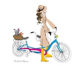 Fashion Illustration, Wimsical, Parisian Style, Girl and French Bulldog, Bicycle Built for Two Art Print