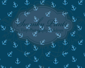 5ft x 7ft Vinyl Photography Backdrops / Blue Anchors